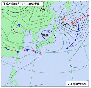 4月10日(月)9時の予想天気図