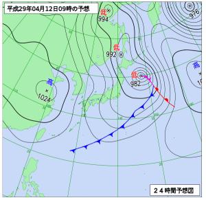 4月12日(水)9時の予想天気図