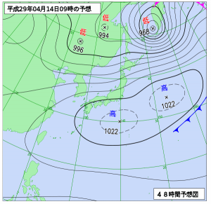 4月14日(金)9時の予想天気図