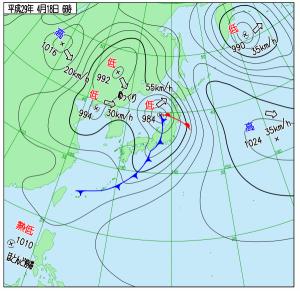 4月18日(火)6時の実況天気図
