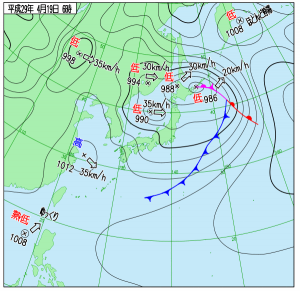 4月19日(水)6時の実況天気図