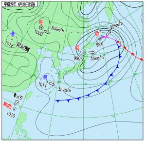 4月19日(水)15時の実況天気図