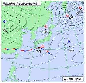 4月21日(金)9時の予想天気図