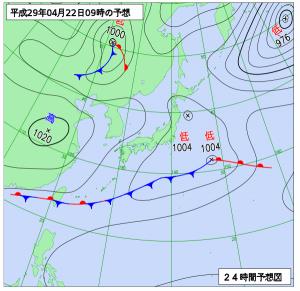 4月22日(土)9時の予想天気図