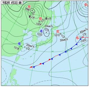 4月23日(日)6時の実況天気図