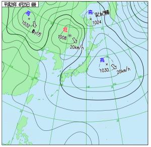 4月25日(火)6時の実況天気図