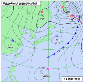 4月28日(金)9時の予想天気図