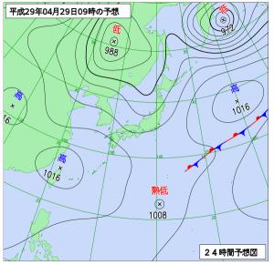 4月29日(土祝)9時の予想天気図