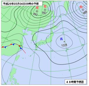 5月4日(木祝)9時の予想天気図