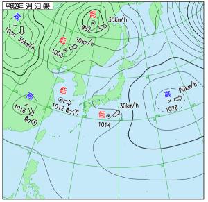 5月5日(金祝)6時の実況天気図