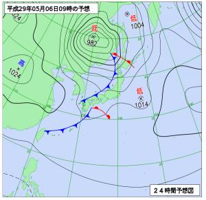 5月6日(土)9時の予想天気図