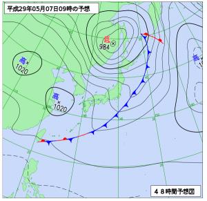 5月7日(日)9時の予想天気図