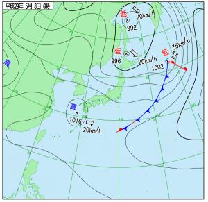 5月8日(月)6時の実況天気図
