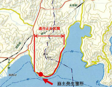海津大崎の湖岸道路通行止め区間