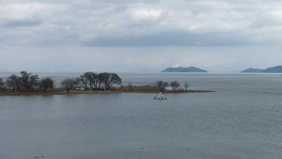 琵琶湖大橋西詰めから眺めた北湖(2月15日12時頃)