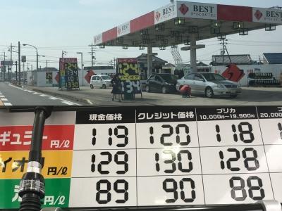レギュラーガソリン119円/L