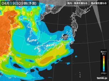 PM2.5分布予測(4月19日9時)