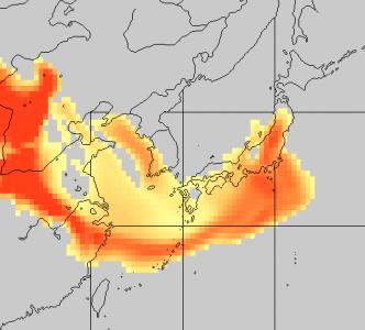 黄砂予測図(4月19日6時)