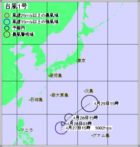 台風1号進路予想(4月27日15時)
