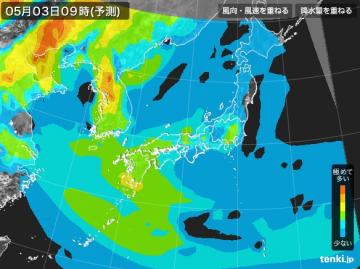 PM2.5分布予測(5月3日9時)