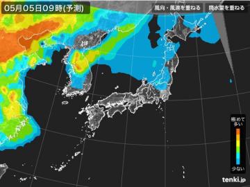 PM2.5分布予測(5月5日9時)