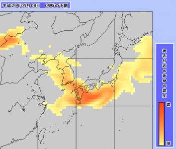 黄砂予測図(5月8日9時)