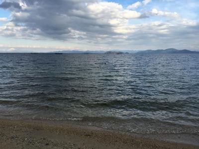 いい天気の琵琶湖北湖(2月25日16時30分頃)
