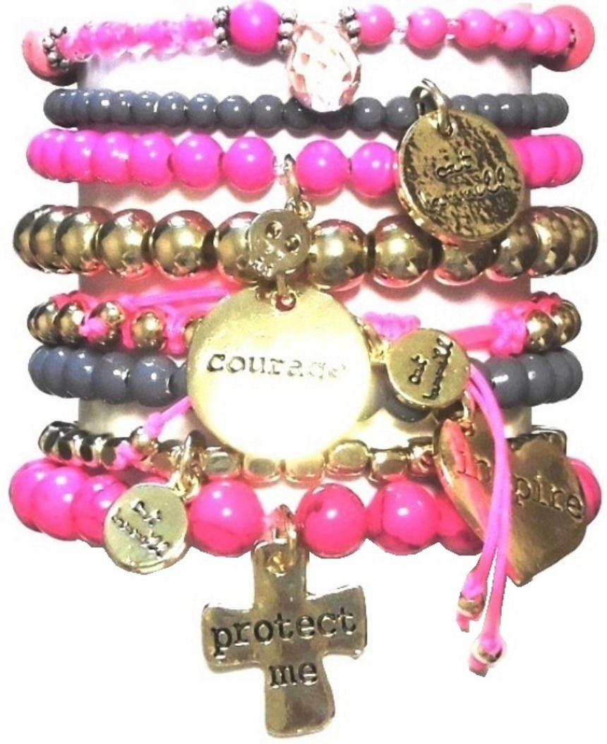 s313 Pop gold bracelet set pink (1)