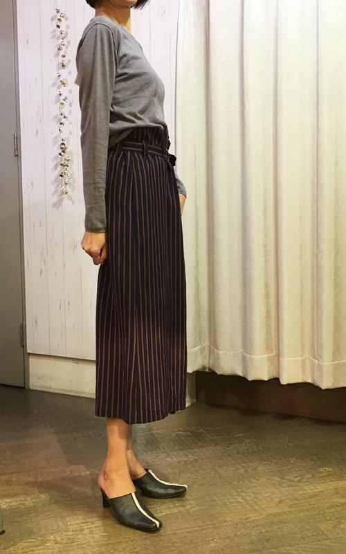 セブンティのストライプのロングスカート