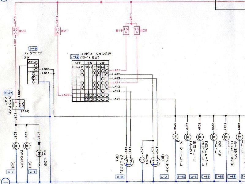コンビネーションSWフォグランプSW回路図