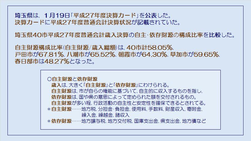 埼玉県40市平成27年度普通会計歳入決算・自主財源・依存財源・コメント