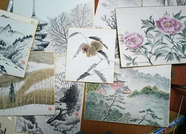 水墨画の色紙