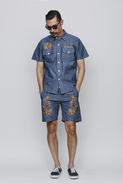 SOFTMACHINE TERRITORY CHAMBRAY TERRITORY SHORTS PARKES GLASS