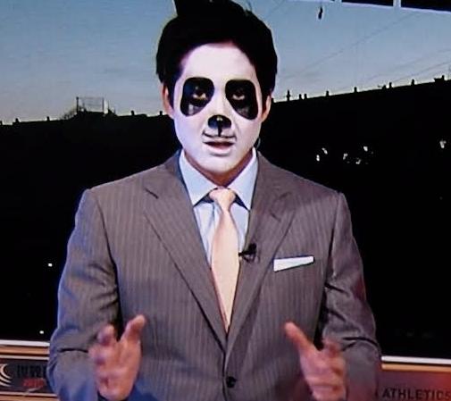 2015年8月27日放送「あさチャン」のスポーツコーナーで「世界陸上2015北京」の報告でパンダのメイクをして出演した石井大裕アナ