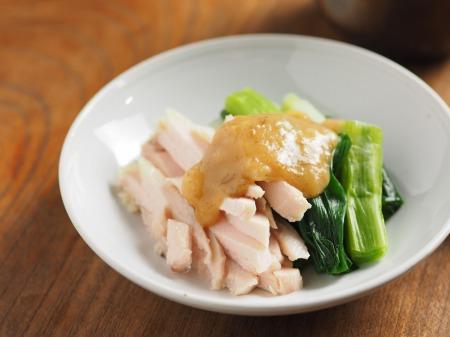 蒸し鶏と大ねぎの辛子酢みそ09