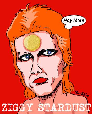 David Bowie Ziggy Stardust caricature likeness