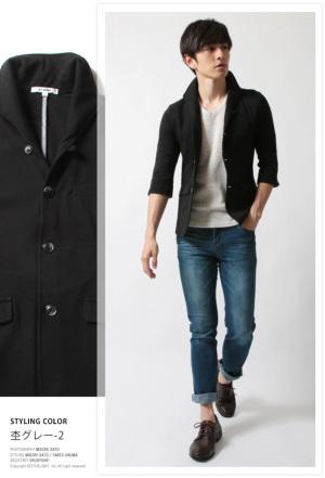 イタリアンカラー 七分袖 ジャケット メンズ 春夏1