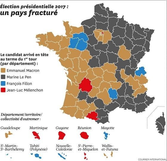 仏大統領選一次投票結果、地域別