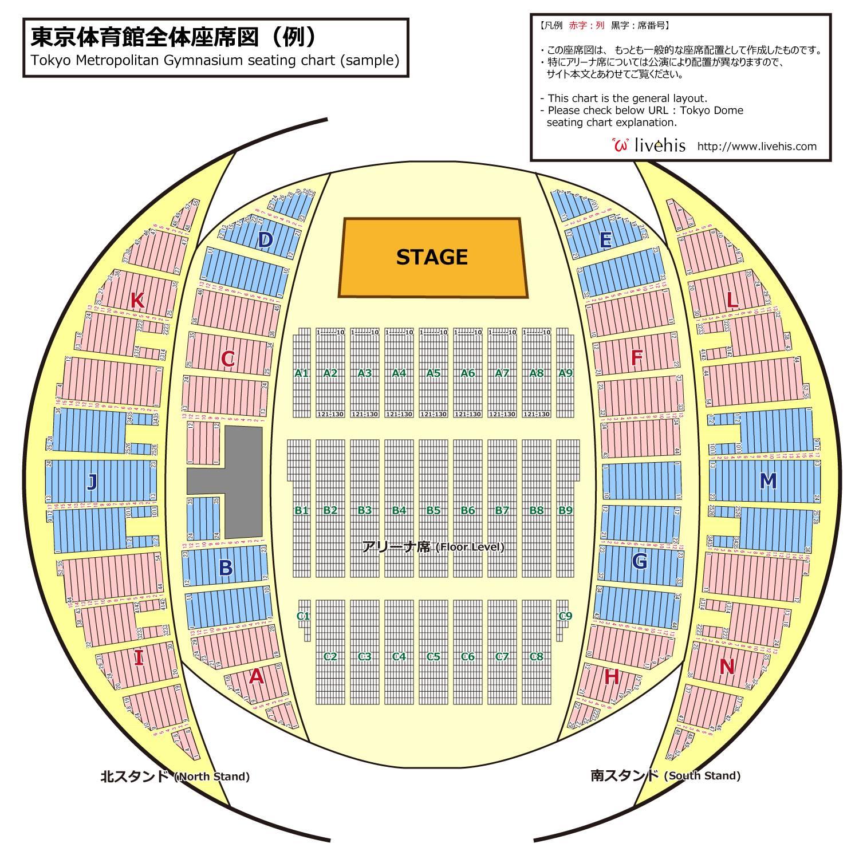 東京体育館全体座席図(例)