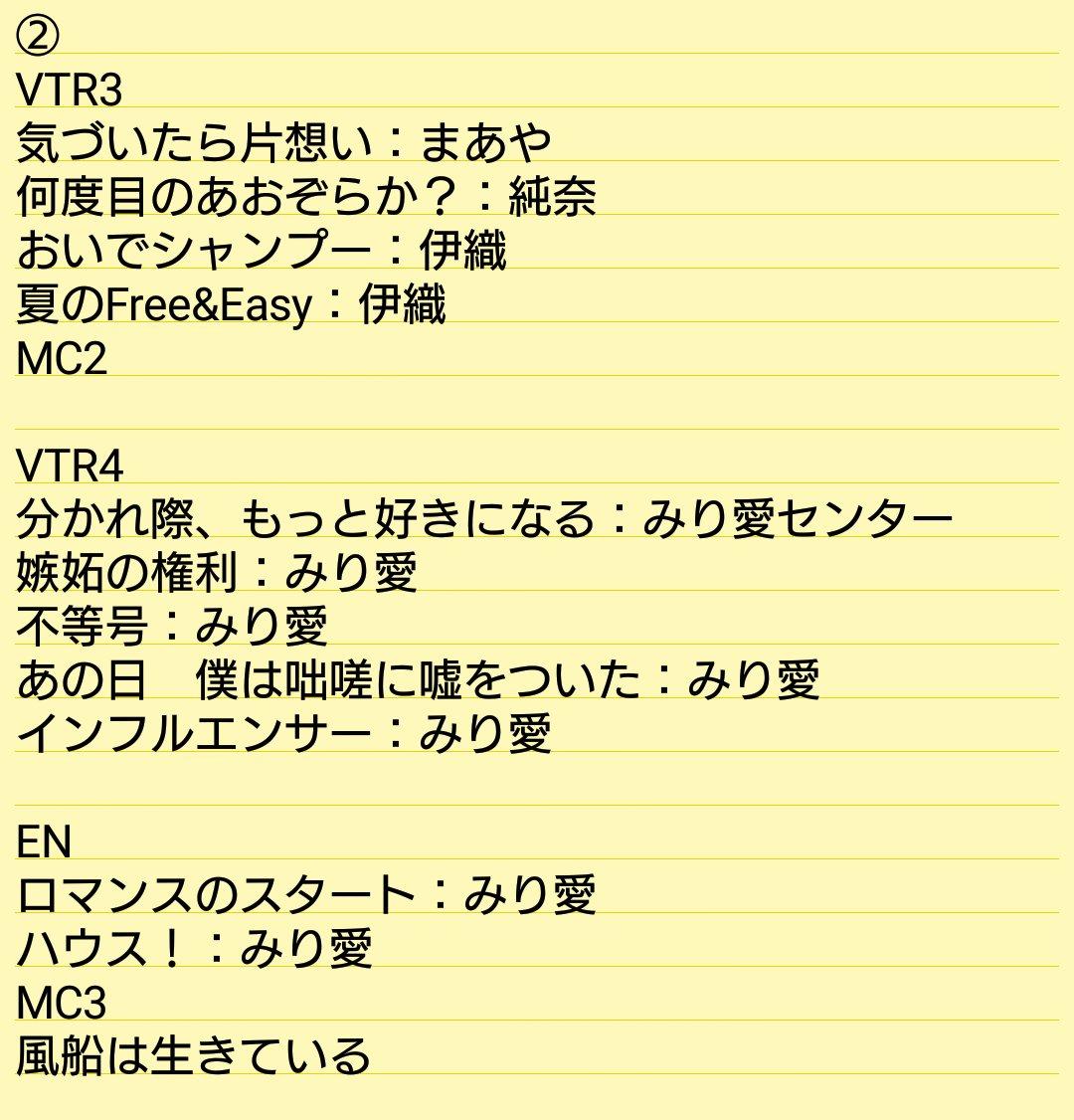 乃木坂46「アンダーライブ全国ツアー2017」東京公演3日日・昼セトリ2