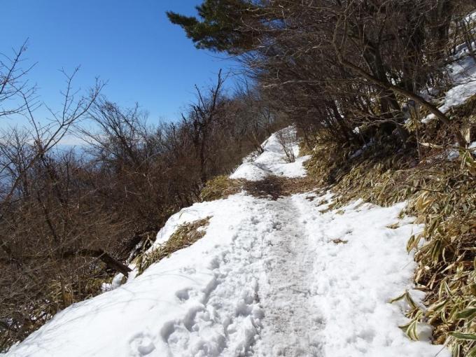南面の道、雪がない