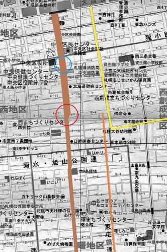 中央区現在図 石山通り 幅員減少