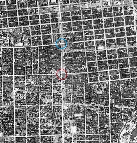1948年米軍空撮写真 石山通り周辺