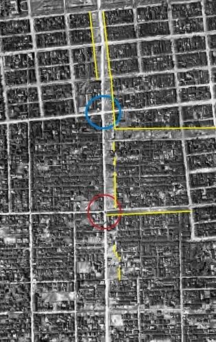 1948年米軍空撮写真 石山通り 建物疎開跡?
