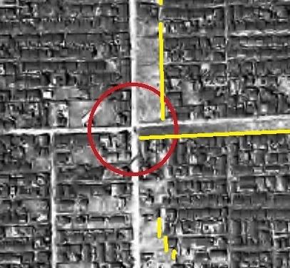 1948年米軍空撮写真 石山通り 南6条附近