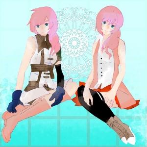 ピンク頭の姉妹
