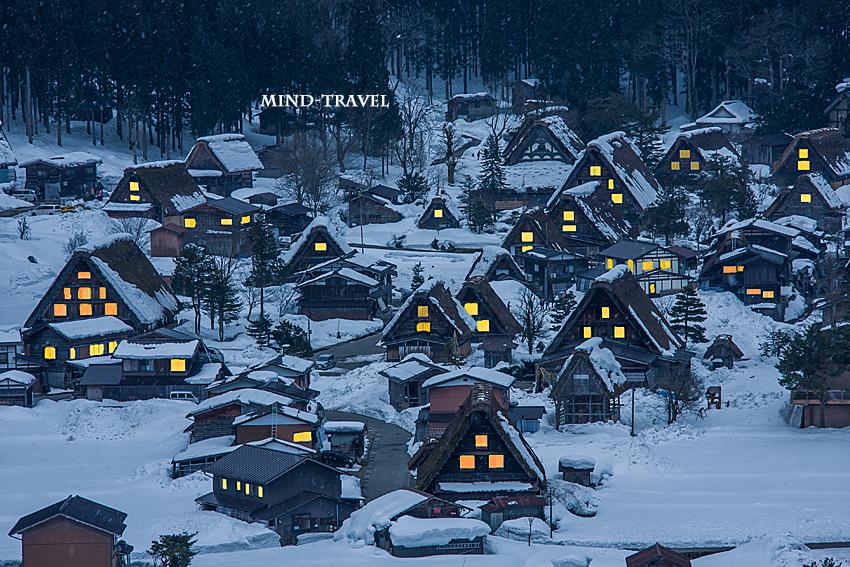 白川郷 夜景 雪