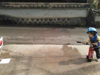 訓練 水消火器 放水 小林消防設備
