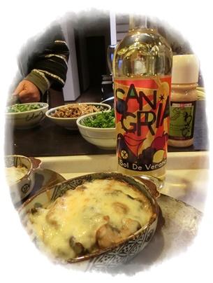 牡蠣のグラタンとサングリアと菜花2