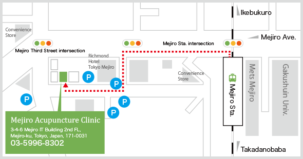mejiro acupuncture clinic tokyo map